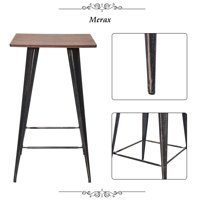 CLEARANCE! Bar Table for Patio Conversation, Upgrade Solid Rustic Farmhouse Bistro Table w/Sturdy Table Top, Rustic Style Rectangular Dining Table w/Metal Legs for Kitchens, Dining Rooms, Brown, S6701