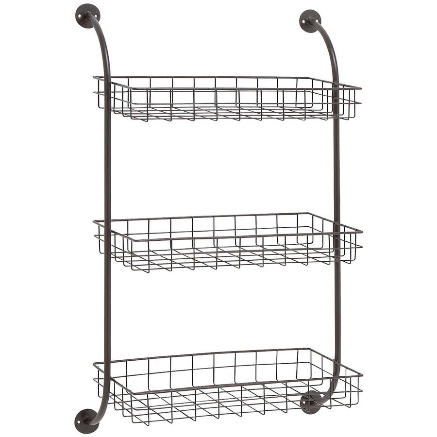 Decmode Metal Wall Storage Rack, Multi Color