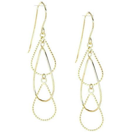 14kt Yellow Gold Diamond-Cut Triple Teardrop Pear Dangle and Drop Earrings, French Wire Cut Euro Wire Earrings