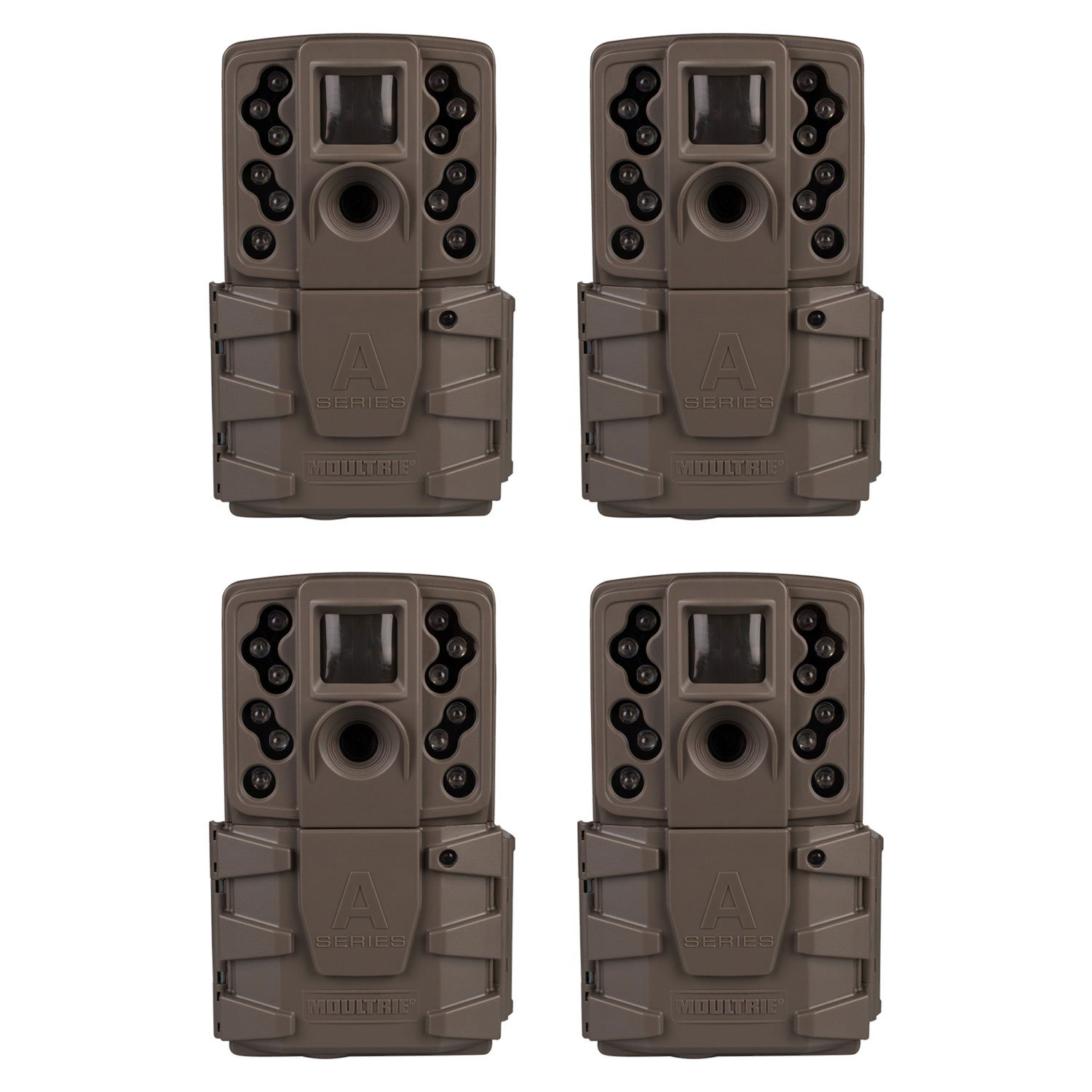 Moultrie A-25i 12MP Low Glow Scout Infrared Game Trail Camera, Brown (4 Pack)