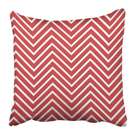 ECCOT Cute Trendy Chevron Patterned Red and White Hip Retro Zigzag Abstract Chic Color Pillowcase Pillow Cover 18x18 inch - Red And White Chevron