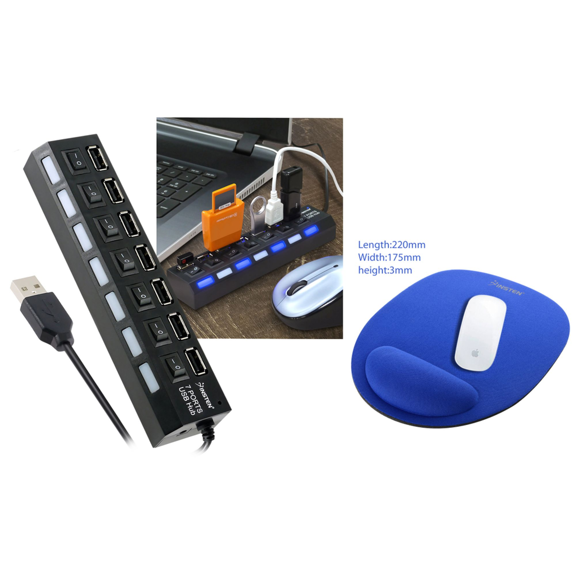 Insten 7-Port USB Hub with ON / OFF Switch Adapter with LED Light + Insten Wrist Rest Support Comfort Mouse Pad For Optical Mouse / Trackball Mouse, Blue