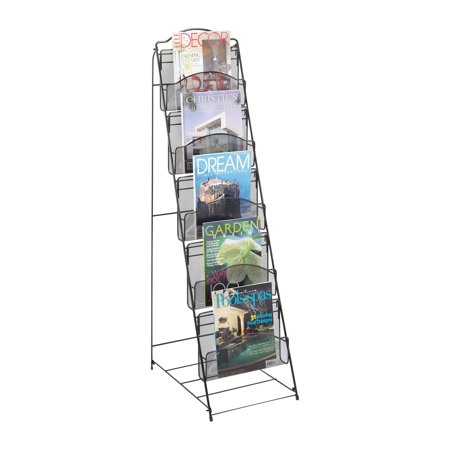 Safco 6461BL Steel Magazine Racks Onyx Floor Rack 5 Pocket ()