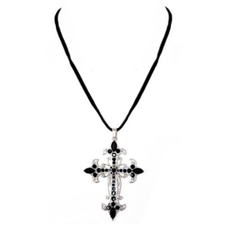 C Jewelry Jet Glass Crystal Silver Cross Pendant Black Suede Necklace