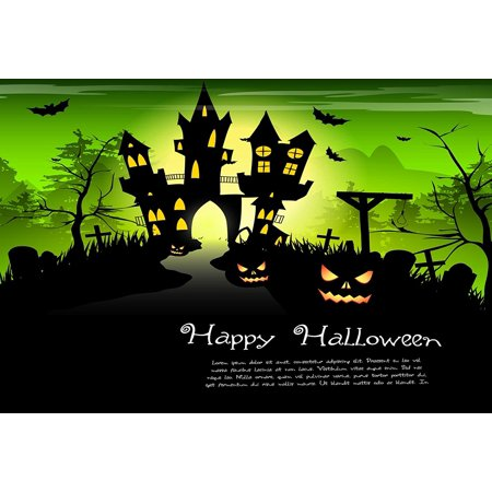 HelloDecor Polyester Fabric 5x7ft Green Halloween Photo Prop Background Pumpkin Face Castle Bat Photography Backdrops](Halloween Pumpkin Faces Photos)