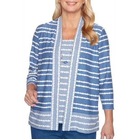 Alfred Dunner Womens Pearls of Wisdom Stripe Top