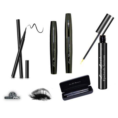 3D Mascara & Eyelash Serum Kit Include Black Eyeliner Stronger Boosting Lash Set (Eyelashes Mascara 3d)
