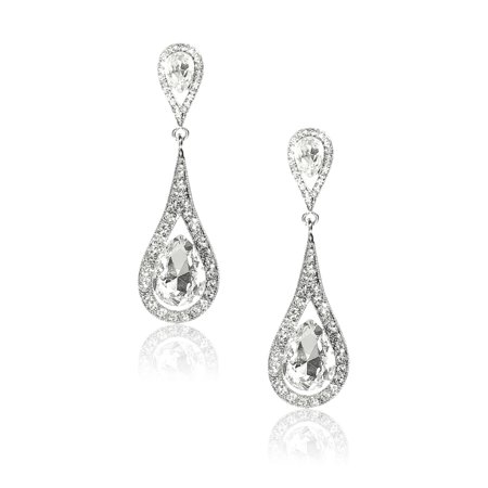 Ladies Waterdrop Rhinestone Dangle Hook Earring Ear Stud 1 Pair White