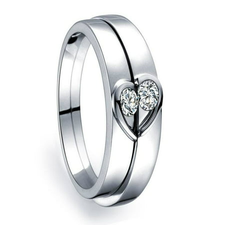 4c1289b1b5 JeenJewels - Unique Heart Shape Couples Matching Wedding Band Rings on 10k  White Gold - Walmart.com