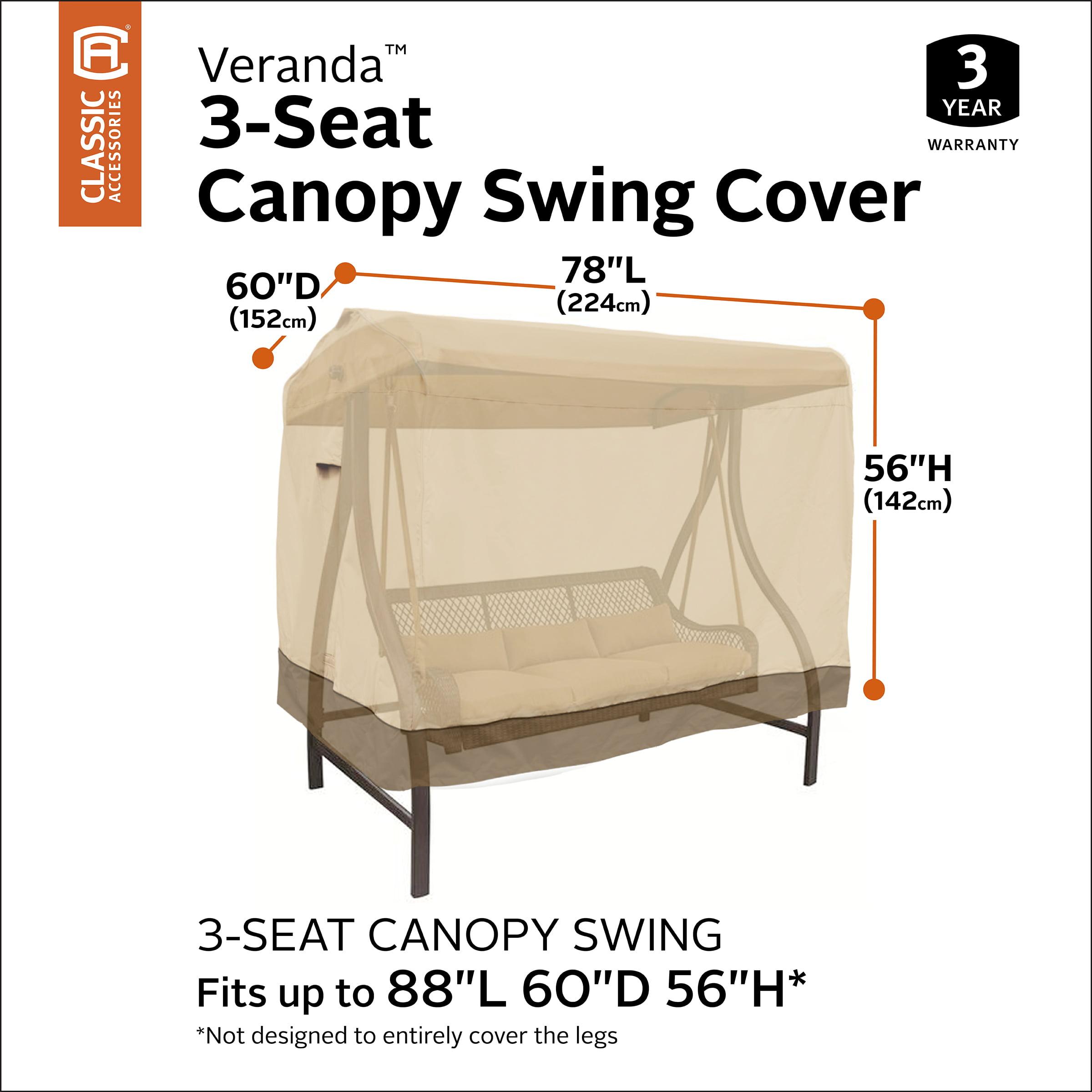 Classic Accessories Veranda Canopy Swing Cover Pebble//82L x 62W x 58H