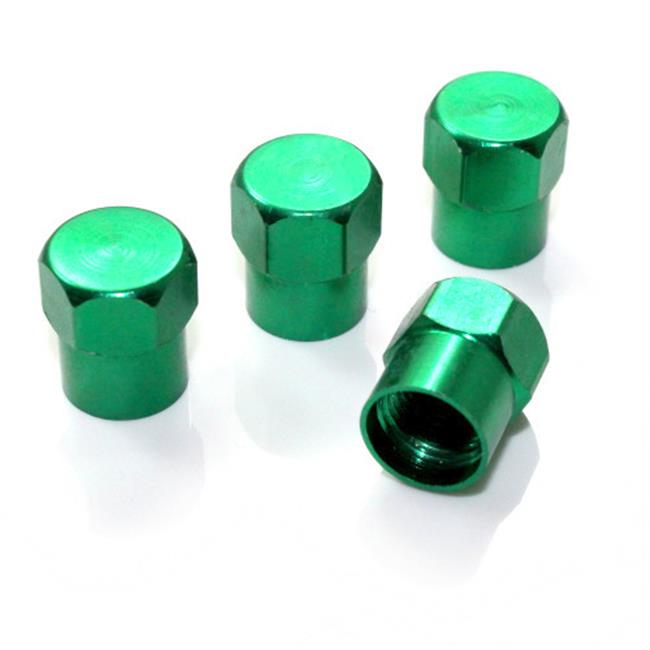 SmallAutoParts Green Aluminum Valve Caps, Set Of 4