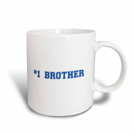3dRose #1 Brother - Number One Bro - dark blue text - Sibling Gifts for big elder younger little brothers, Ceramic Mug, 11-ounce (Little Brother Mug)