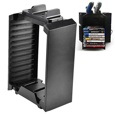 Vertical Console Stand Cooling Fan Game Disk Rack Holder for PS4 Slim PRO XboxONE S (Game Console Rack)