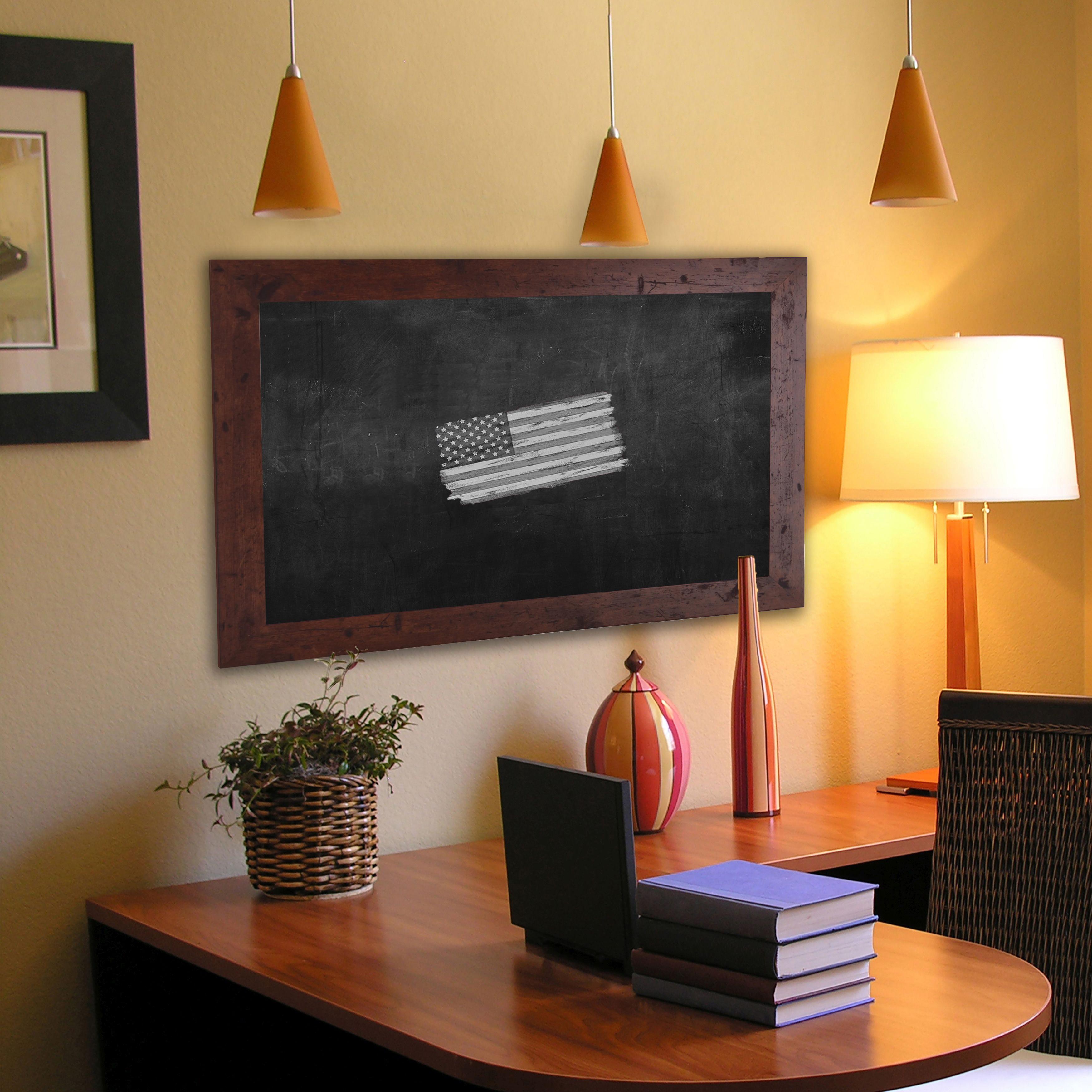 Rayne Mirrors American Made Rayne Rustic Dark Walnut Blackboard/ Chalkboard