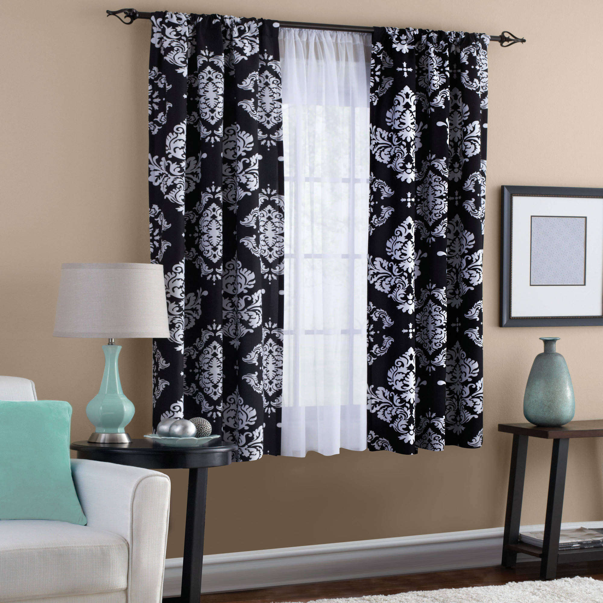 Merveilleux Classic Noir Black And White Window Curtain   Walmart.com