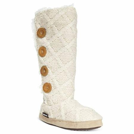 3383fa1f120 MUK LUKS Women's Malena Cozy Sweater Slipper Boots (Vanilla, X-Large)