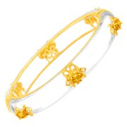 Fleur De Lis Bangle Bracelet with Citrine in 18kt Gold-Plated Brass