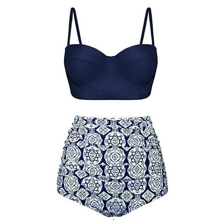 Women Sexy Two Piece Push Up Padded Bra Thong Swimsuit High Waist Bikini Set Swimwear Bathing Suit Swimsuit