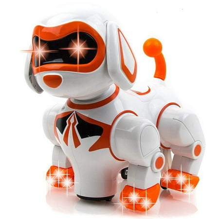 Go Robots - Toysery Interactive Robot Dog Kids Toy - Children's Pet Robot Puppy Toy Flashing Light & Sound - Walks, Runs, Barks, Bump 'n' Go Robotic Dog Toys Girls, Boys