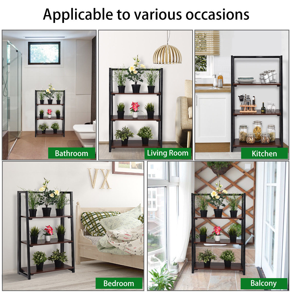 Gymax 3 Tier Folding Ladder Bookcase Multifunctional Plant Flower Display Stand Shelf - image 6 of 10