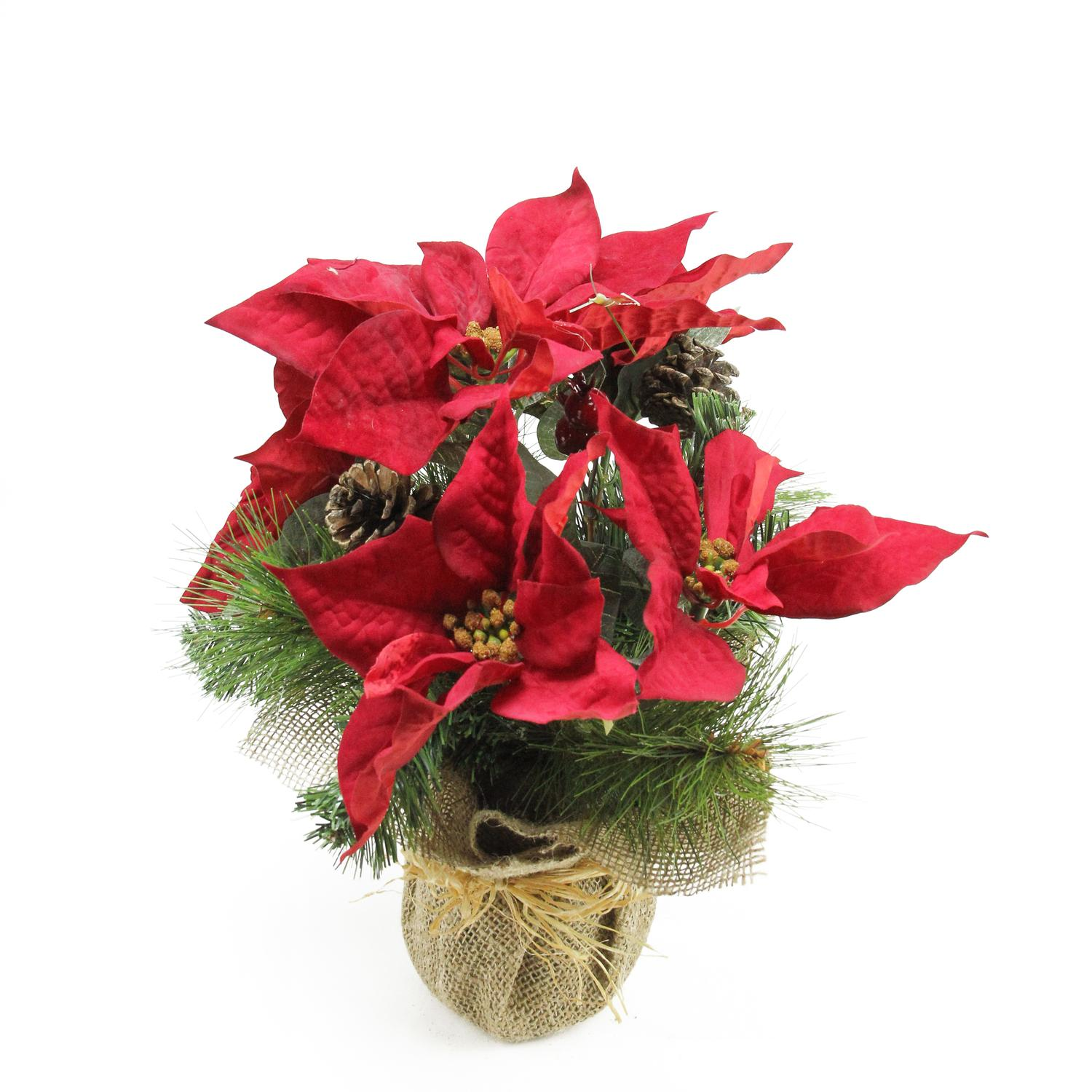 "14"" Artificial Red Berry and Poinsettia Flower Decoration with Pine Cones In Burlap Pot"