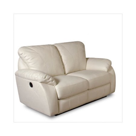 albany milano bonded leather dual reclining loveseat in ivory