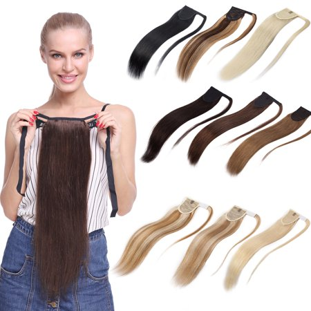 S-noilite Human Hair Ponytail Extension Wrap 100% Real Remy Premium Long Straight Human Hair Silky Soft Hairpiece Medium