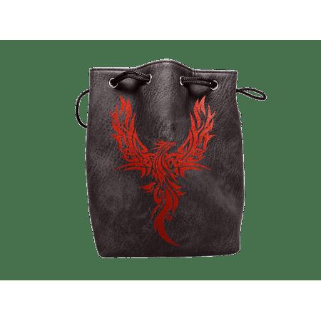 Black Leather Lite Phoenix Design Self-Standing Large Dice Bag