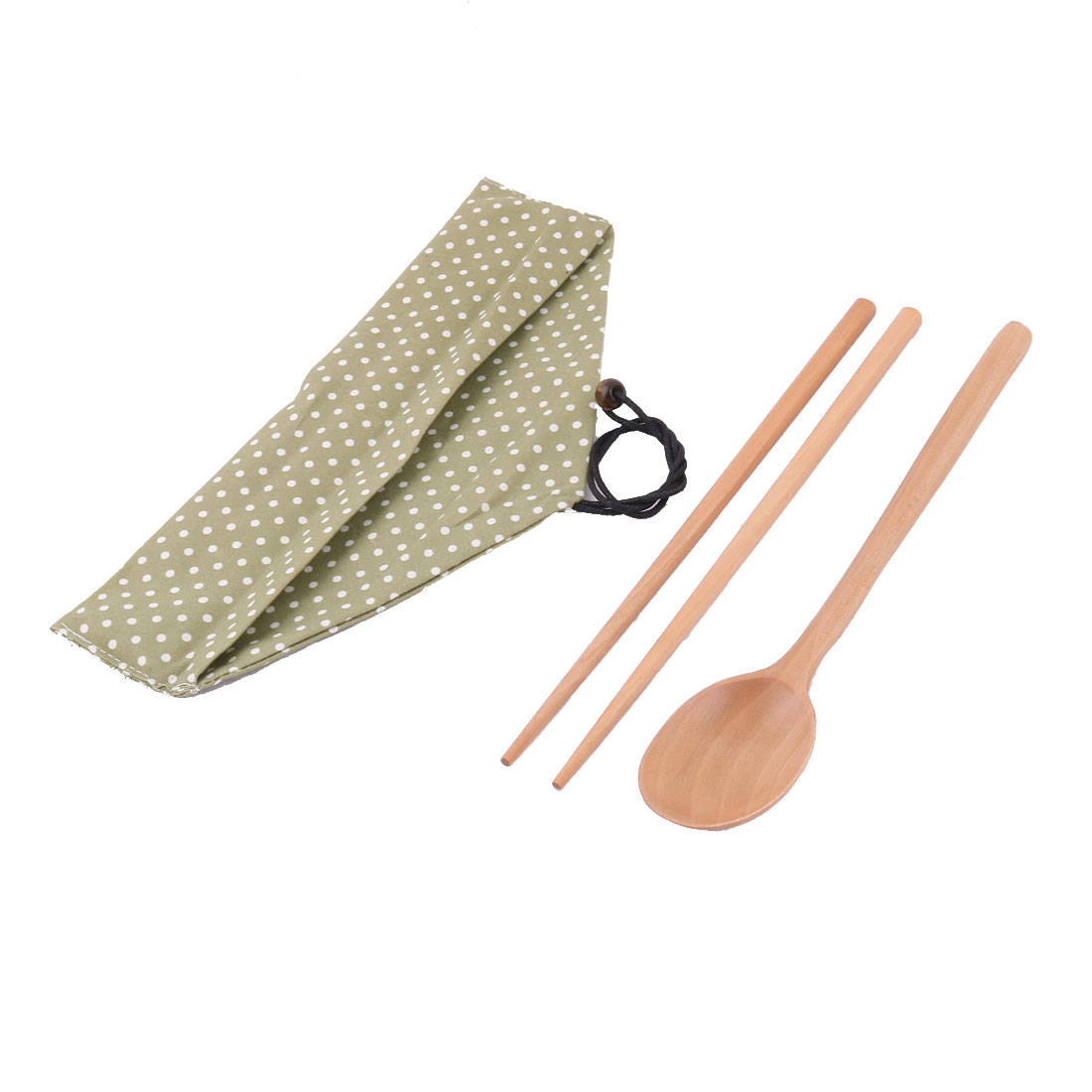Outdoor Picnic Dots Print Tableware Food Rice Serving Chopsticks Spoon Green Set
