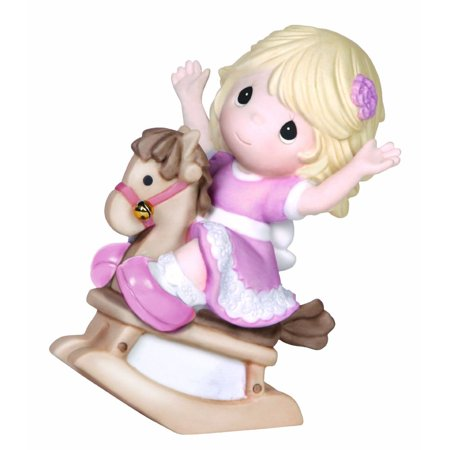 Crystal Rocking Horse Figurine - Precious Moments Christmas Collection 141014 Girl On Rocking Horse Figurine