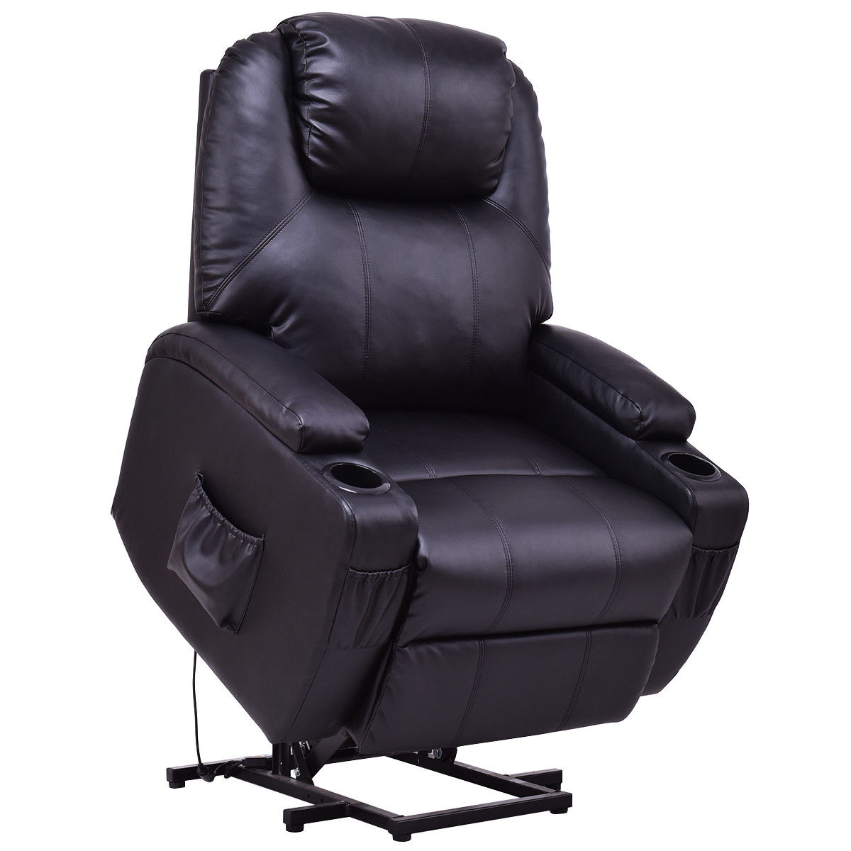 Costway Electric Power Lift Chair Recliner PU Leather Padded Seat w  Remote & Cup Holder by Costway