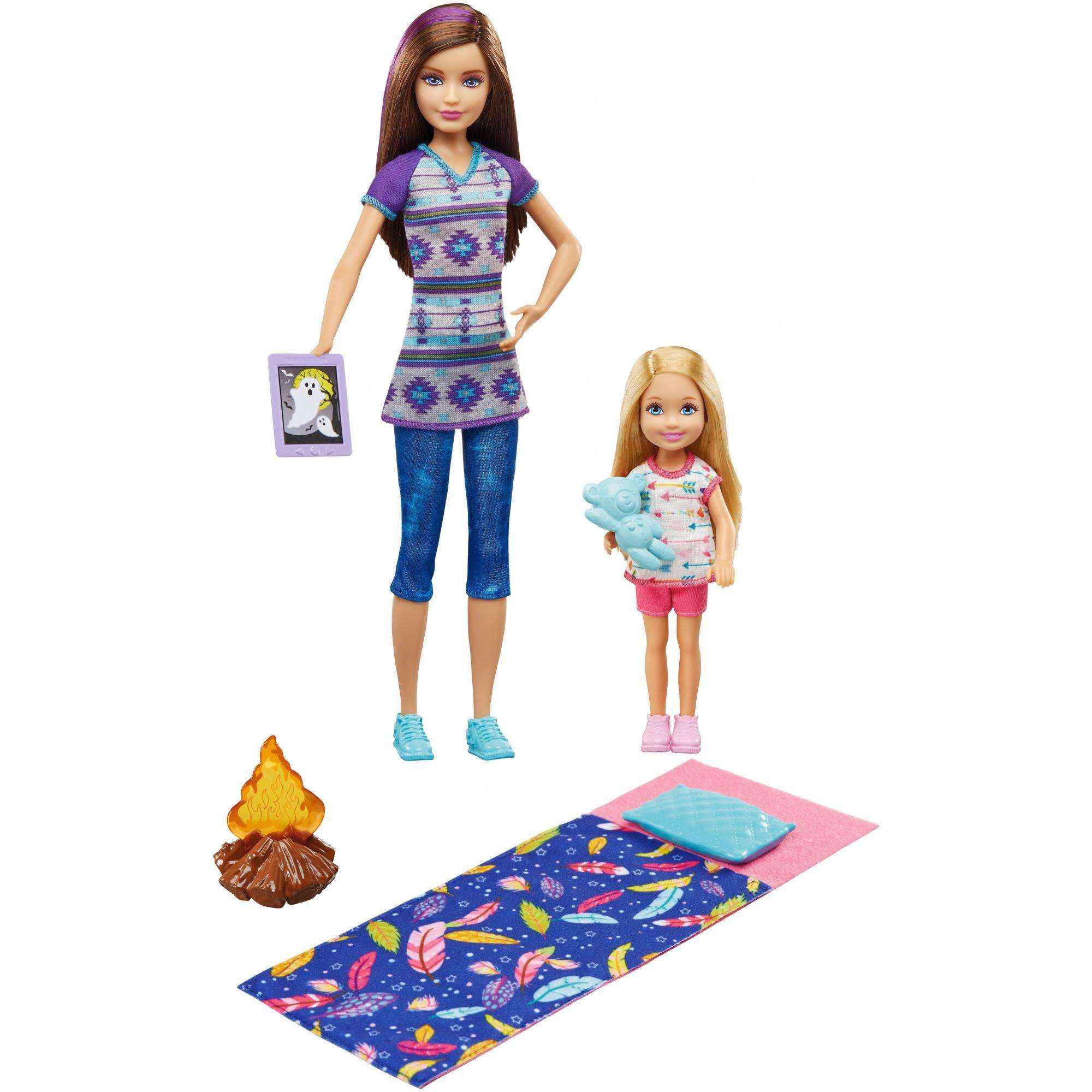 Barbie Camping Fun Skipper & Chelsea Dolls with Smores & Campfire Accessories by MTHK - CHANG AN