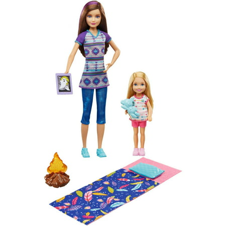 Barbie Camping Fun Skipper & Chelsea Doll with Campfire Play Set ()