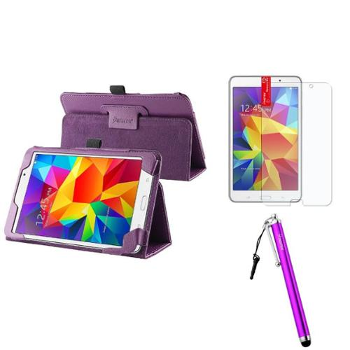 Insten Purple Leather Stand Case+AG Protector/Pen For Samsung Galaxy Tab 4 7.0 7 T230 SM-T230