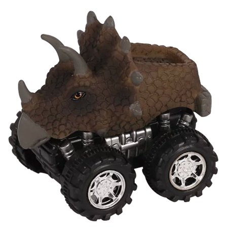Mini Dinosaur Car Toy Spring Pull Back Car Model Vehicle Wind-up Toys Kids Educational Toy (Dinosaur With Horn On Back Of Head)
