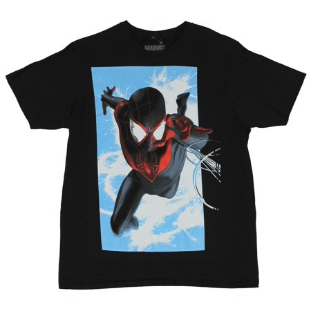 Spider Man Shooting Webs (Spider-Man (Marvel Comics) Mens T-Shirt  - Web Shooting in Front of the Sky Im)