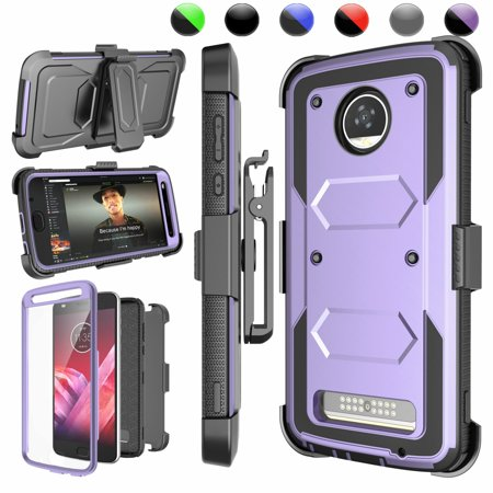 the best attitude 55927 081d4 Moto Z2 Play Case, Moto Z2 Force Case, Z2 Play Holster Belt, Njjex  [Lavender] [Built-in Screen Protector] with Kickstand + Holster Belt Clip  Carrying ...
