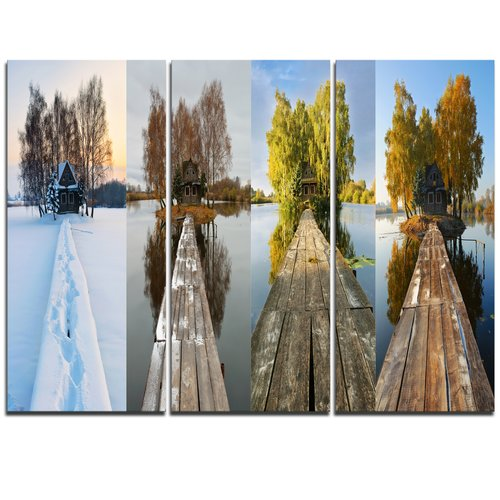 Design Art Houses on Small Island Panorama - 3 Piece Graphic Art on Wrapped Canvas Set