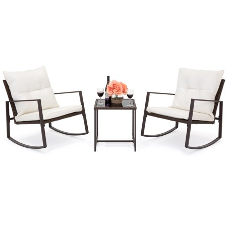 Best Choice Products 3-Piece Weather-Resistant Patio Wicker Bistro Furniture Set w/ 2 Rocking Chairs, Glass Side Table, Cushions w/ Washable Covers - Beige