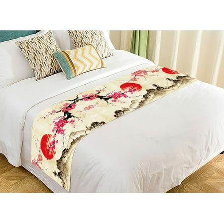 GCKG Landscape Bed Runner, Japanese Sakura Cherry Blossom Moon Bed Runners Scarves Bed Decoration 20x95 inch ()