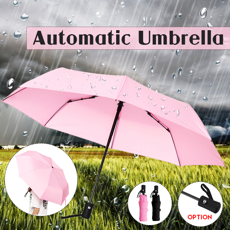 Blue Guitar On Fire Automatic Windproof Travel Umbrella Compact Canopy With Black Glue And UV-resistant Coating
