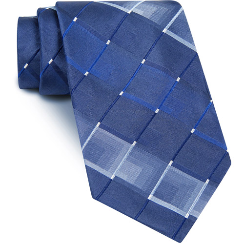 Men's Geo Grid Necktie, Blue