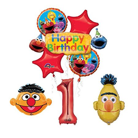 Sesame Street Bert and Ernie 1st Birthday Party Supplies and Balloon Bouquet Decorations - Sesame Street Birthday Party Theme