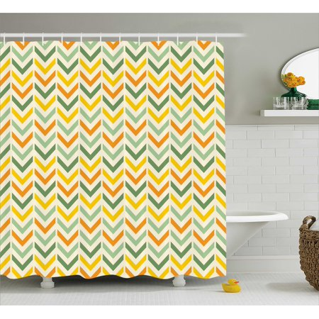 orange chevron shower curtain. Chevron Shower Curtain  Retro Countryside Colors Zigzags In Vertical Direction Striped Composition Fabric Bathroom