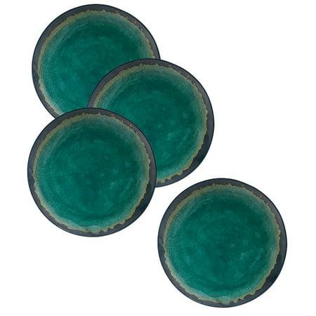"Merritt International Melamine Turquoise Natural Elements 9"" Salad Plate 4 Pack"
