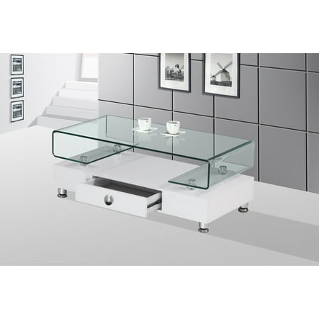 Best Quality Furniture Coffee Table with Top Square Shape Clear Glass & Storage Drawer Multiple