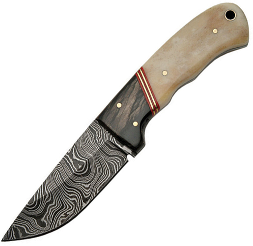 Szco Supplies Bone Damascus Hunting Knife Multi-Colored