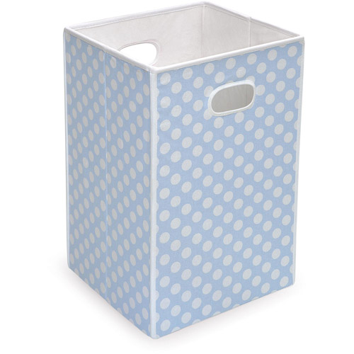 Badger Basket - Folding Hamper/Storage Bin, Blue with White Polka Dots