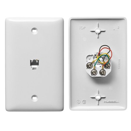 Hubbell Midsize White Telephone Plate 1-Gang With Voice Grade Jack 6-Position 4-Conductor