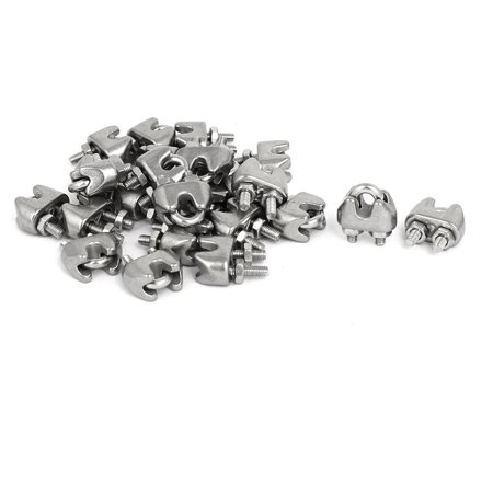 M2 1/16 Inch 304 Stainless Steel Saddle Clamps Cable Wire Rope Clips 25PCS